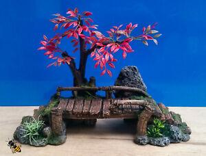 Aquarium Ornament Wood Bridge Tree Rock Plants Hide Fish Tank Decoration New