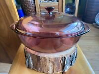 Pyrex Glass Cranberry Casserole Ovenware/Bakeware with Lid 2L - See Pictures