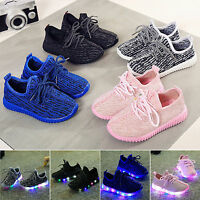 LED Light Up Kids Child Boys Girls Trainers Knitted Sneakers Luminous Shoes New