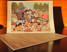 Kliban Cat Collectible Greeting Card with Envelope Cat Feeding Birds Unused