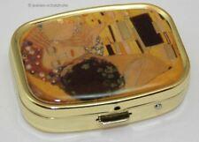 Pillendose Pillendöschen mit Spiegel Gustav Klimt * Der Kuss * Tablettenbox