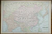 "Vintage 1901 CHINESE EMPIRE Map 14""x22"" ~ Old Antique BEIJING HONG KONG SHANGHAI"