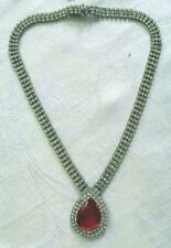 OLD ~ RUBY RED RHINESTONE PENDANT / NECKLACE ... STUNNING!