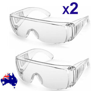 2X Clear Anti Safety Goggles Glasses Eye Protection Work Lab Dust Clear Lens