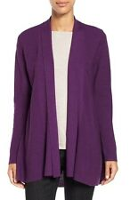 NEW EILEEN FISHER RAISIN FINE MERINO STITCH SHAPED OPEN CARDIGAN L $288