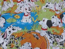 VINTAGE DISNEY 101 DALMATIANS PLAYFUL PUPS TWIN FITTED BED SHEET CRAFT FABRIC