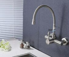 Wall Mounted Kitchen Faucet Stainless Steel Mixer One handle Brushed Nickel Tap