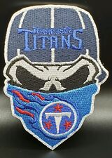 Tennessee Titans~Iron On Skull with Bandana Patch~Free Shipping from the USA~