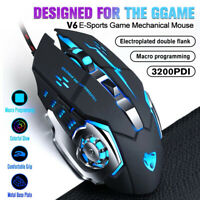 Wired Gaming Mouse LED RGB Backlit Optical 3200DPI Mice Metal Bottom For Laptop