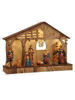 Pre Lit Wooden Nativity Scene Traditional LED Christmas Decoration Xmas Light Up