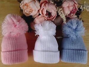 Baby Boy Girl Hat White Pink Blue Double Rib Knit Adjustable Pom-Pom 3-6-12m