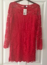 Ladies Women's Girls H&M Red Lace Lined Elegant Formal Evening Dress Size 14 New