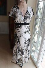 BHS Size 16 white black lined chiffon V neck empire line cap sleeve flippy dress
