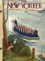1942 New Yorker May 9 - Pan and the Sailors outside Brooklyn Navy Yard- Alajalov