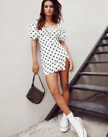 MOTEL ROCKS Varie Mini Dress in 80's Polka Dot White XS  (MR88)