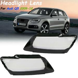 2X Car Front Left+Right Headlight Lens Clear Lampshade Cover For Audi Q5 2009-12