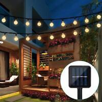 Outdoor String Lights 25ft 50 LED Warm White Ball Solar Powered Globe Fairy Lamp