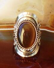 Ring Alpaka Silber Cat Eye Katzenauge dunkel braun Ethno Inka Maya Stil 3