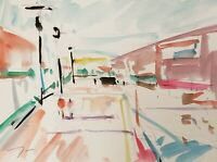 JOSE TRUJILLO ORIGINAL Watercolor Painting Street SIGNED COLORIST Fauvism 9X12