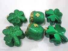 Lot of (6) St Patricks Patrick Day Shamrocks & Pot Of Gold Ornaments Decorations