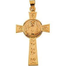 """MRT 14K Gold Blessed Pope John Paul II Cross Pendant Medal Catholic Gift 1 1/2"""""""