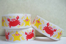 """ST6064 - 3 yds 5/8"""" CRABS and STARFISH GROSGRAIN RIBBON"""