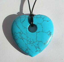 Turquoise Howlite Heart Donut Pendant Necklace. 45mm. Free gift pouch