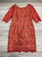 Eliza J Missy Pink Floral Lace Pencil Dress 3/4 Sleeve Stretch Lining Women's 12