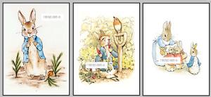 Beatrix Potter Peter Rabbit Set 3 Picture Print Photo Nursery Decor Wall Bedroom