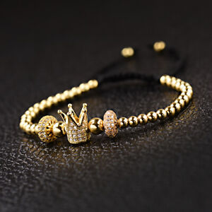 2019 Luxury Men's Women Micro Pave CZ Ball Crown Beads Braided Bracelets Gift