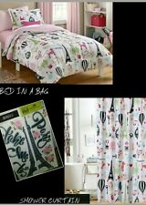 I Love Paris Bed In A Bag Tower Eiffel Bedding Twin Set+Shower Curtain+ Bonus