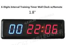 LED1.8'' 6-Digits Interval Training Timer Wall Clock w/Remote Fitness Garage WOD