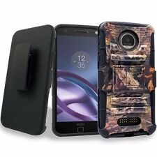 For Motorola Moto Z Force Droid Protective Case Holster Belt Clip Kickstand Camo