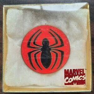 1992 red vintage Planet Studio Marvel SPIDER-MAN brass & copper Belt Buckle MIP