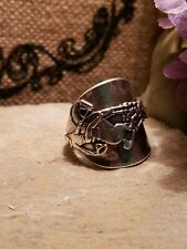 Vintage sterling Silver plated Spoon Ring handmade 9
