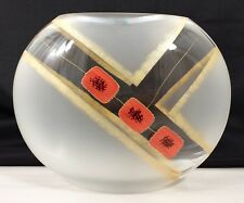 """Womar Glass Blown Painted Contemporary Simplicity Gold Red 11"""" Oval Vase Poland"""
