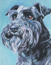 SCHNAUZER dog portrait art Canvas PRINT of lashepard painting LSHEP 11x14""