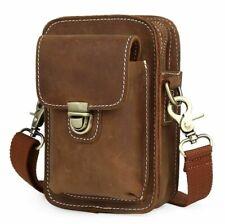 Men Real Leather Sport Waist Bag Fanny Bum Pack Shoulder Bag Cross Body Bag
