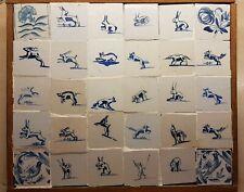 ANTIQUE TILE TABLEAU 30 CUT DUTCH DELFT BLUE WHITE PANEL MOSTLY ANIMAL TILES