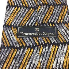 Ermenegildo Zegna Tie Geometric Gray Yellow Zig-Zag Elegant 100% Silk Necktie