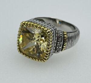 Judith Ripka JR Two Sterling Silver & 18k Gold Lemon Citrine Diamond Ring Size 6