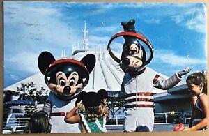 Walt Disney World Postcard 1976 Florida Mickey Mouse Goofy Space Suit