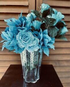 "Antique Glass Flower Vase Silver Plated Floral Appliqué Scalloped Edge 8"""
