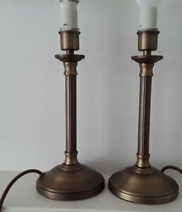 2 Brass TOUCH Lamp Bases M&S Table Stands Desk Bedside Modern Retro Pair Decor