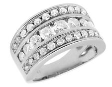 Ladies 14k White Gold Genuine Diamond Channel Engagement Ring Band 2.0ct 10mm