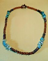 Vintage TURQUOISE STONE & Amber Glass Beaded Silver Tone Toggle Clasp Necklace