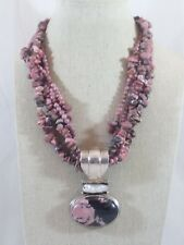"""Sterling Silver Chunky Rhodonite & Pearl Pendant 4 Strand Beaded Necklace 17"""" L"""
