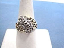 Lovely Vintage Solid 10k Y Gold Diamond Cluster Ring 0.76 tcw hearts ladies sz 9