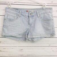 Levi's 11 Juniors Shorty Shorts Denim Striped Blue White