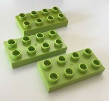 *NEW* 3 Pieces Lego DUPLO 2x4 Plate LIME GREEN